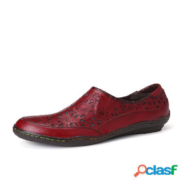 Socofy cuero recortes florales cremallera slip on mocasines zapatos planos antideslizantes