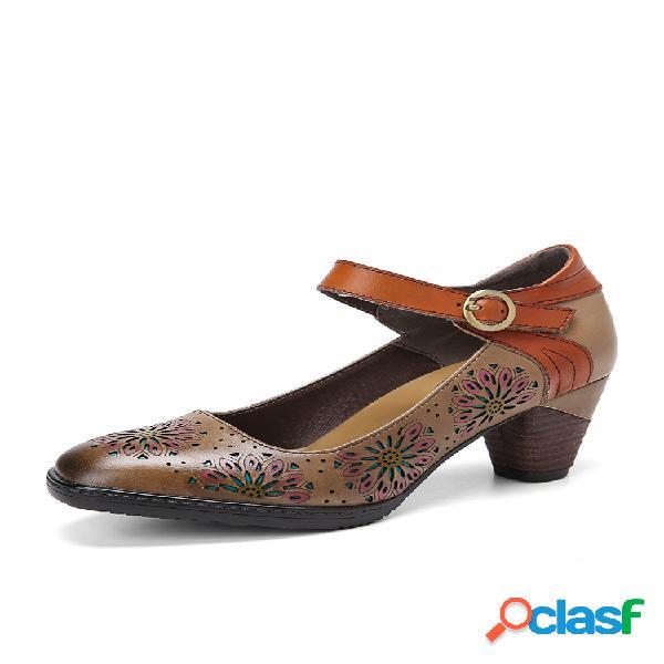 Socofy zapatos de salón con tacón grueso y hebilla hueca floral de cuero con hebilla en el tobillo vestido zapatos