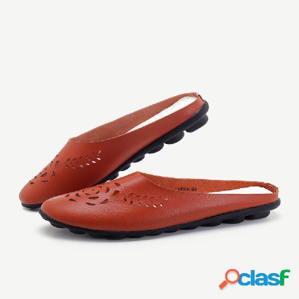 Cuero sin respaldo hueco cómodo soft zapatos planos casuales