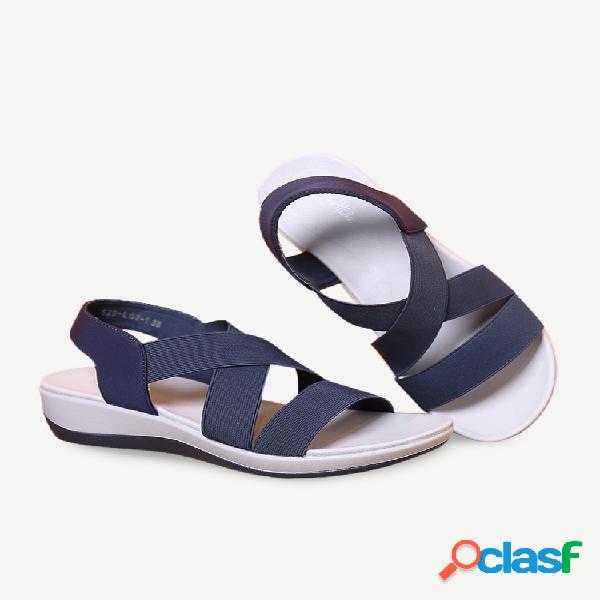 Lostisy mujer correa elástica cruzada cómoda soft deportes sandalias