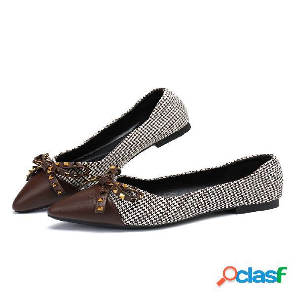 Tallas grandes mujer zapatos con punta decorada con lazo en el dedo del pie