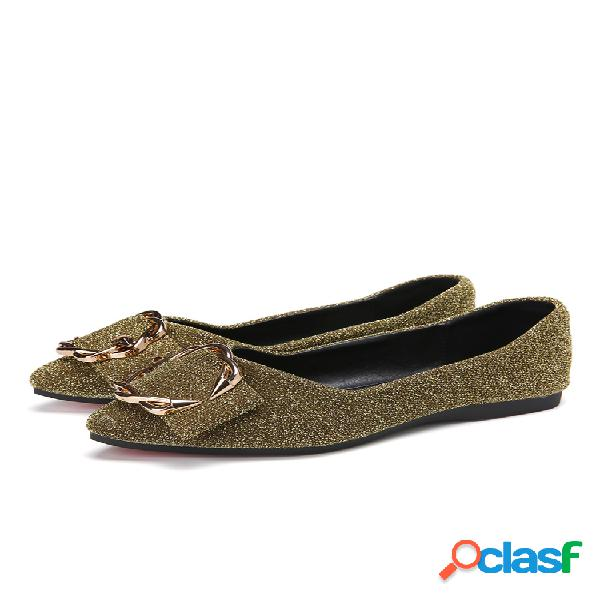 Zapatos planos decorativos de gamuza con punta estrecha de diamantes de imitación para mujer