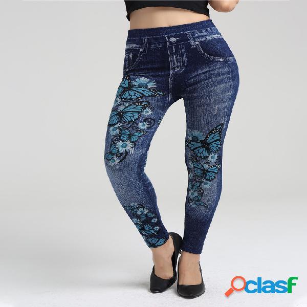 Estampado de flores bodycon elastic denim pantalones para mujer