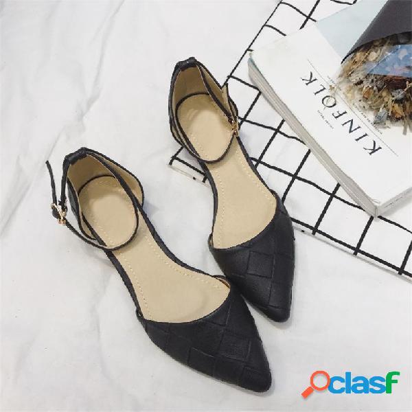 Zapatos de pisos elegantes con punta en punta de hebilla de color sólido para mujer