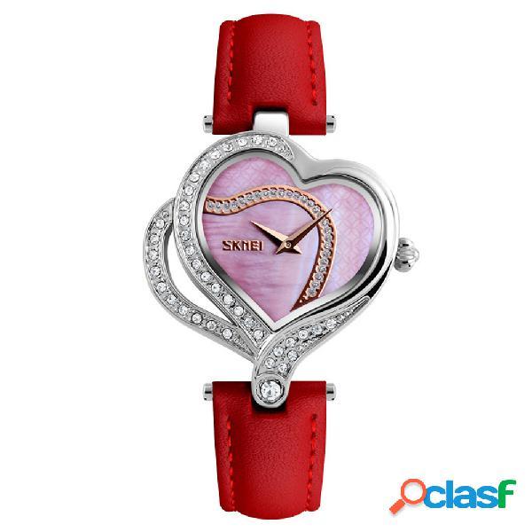 Skmei sweet love heart relojes de moda relojes de pulsera de cuarzo con correa de cuero para mujer