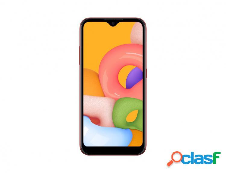 "Smartphone samsung galaxy a01 5.7"", 720 x 1520 pixeles, 32gb, 2gb ram, 4g, android 10, rojo"