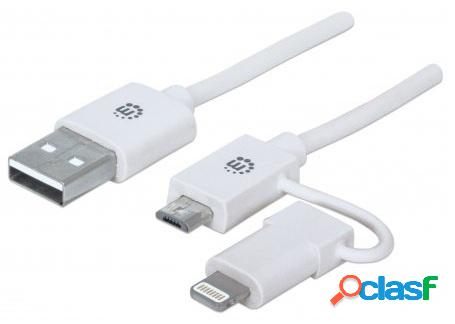 Manhattan cable de carga 2 en 1 ilynk, usb a macho - micro-usb b macho/lightning macho, 1 metro, blanco, para iphone/ipad/smartphone/tablet
