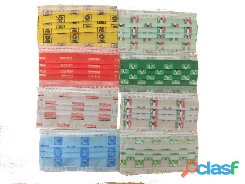 Cubrebocas desechables impresos para campañas políticas