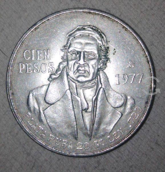 Moneda morelos. 25 gr. plata pura ley 0.720