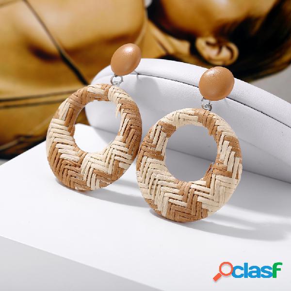 Círculo trenzado africano pendientes retro style oreja drop para mujer