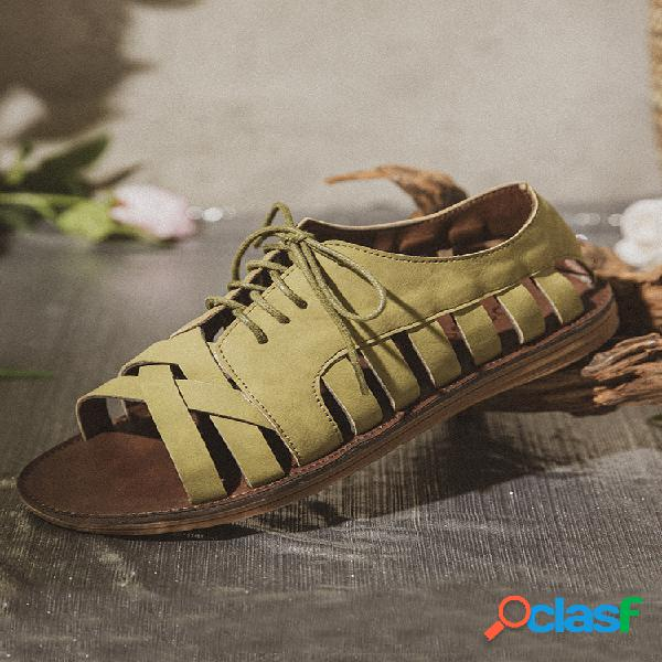 Lostisy cross strap lace up hollow antideslizante casual flat mujer gladiator sandalias
