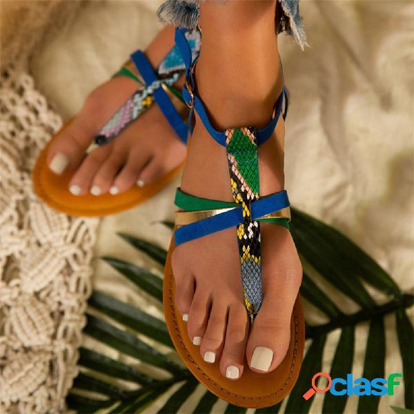 Mujer serpiente patrón punta cómoda con clip de correa con hebilla playa sandalias