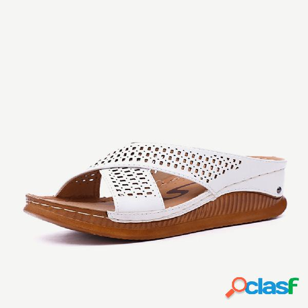Mujer peep toe hollow out verano playa cuñas sandalias