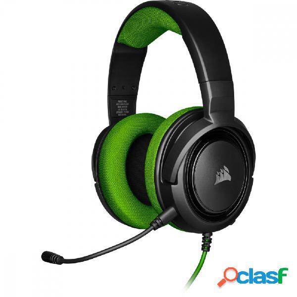 Corsair audífonos gamer hs35, alámbrico, 1.1 metros, 3.5mm, negro/verde