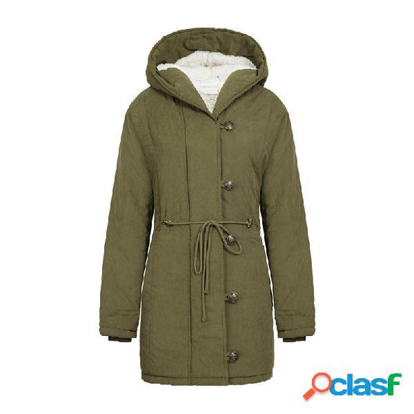Algodón una sección larga cordón con capucha cordero cachemira cintura abrigo