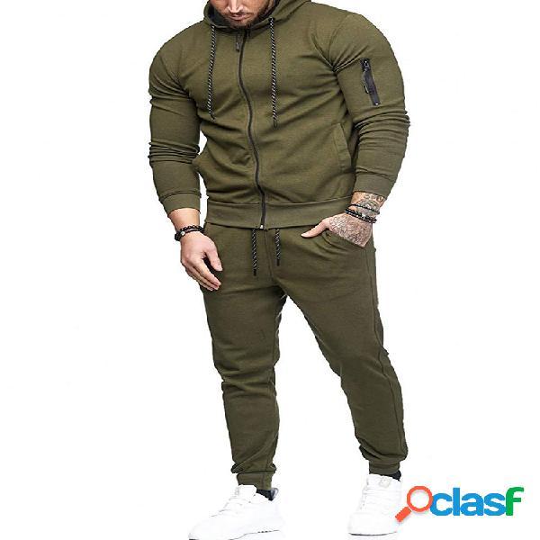 Sudaderas con capucha de color sólido para hombre cintura elástica pantalones trajes de dos piezas