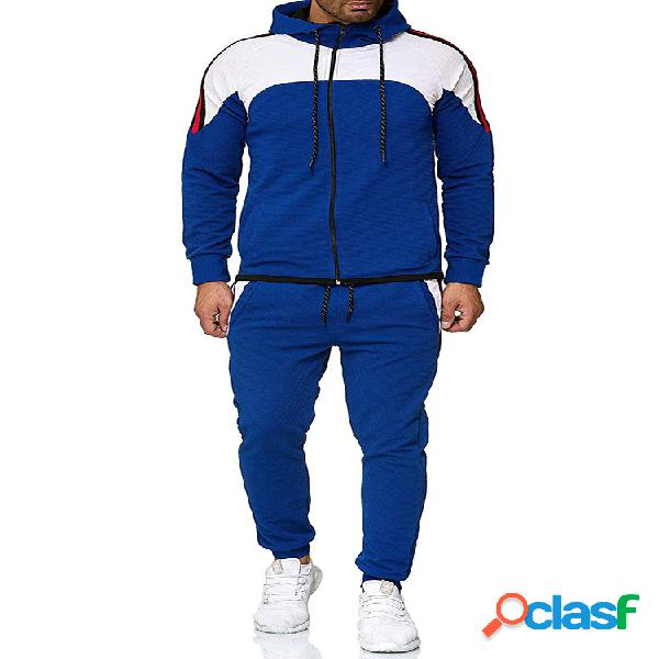 Sudaderas con capucha de patchwork en contraste para hombre con cordón en la cintura pantalones trajes de dos piezas