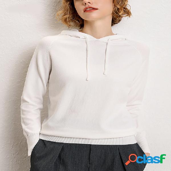 Mujer suéter con capucha de punto de manga larga con cordón de color sólido