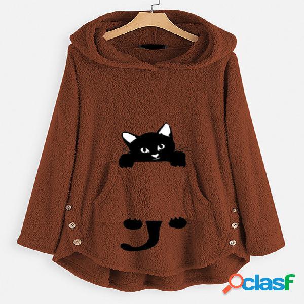 Mujeres dibujos animados gato botón de impresión manga larga felpa capucha