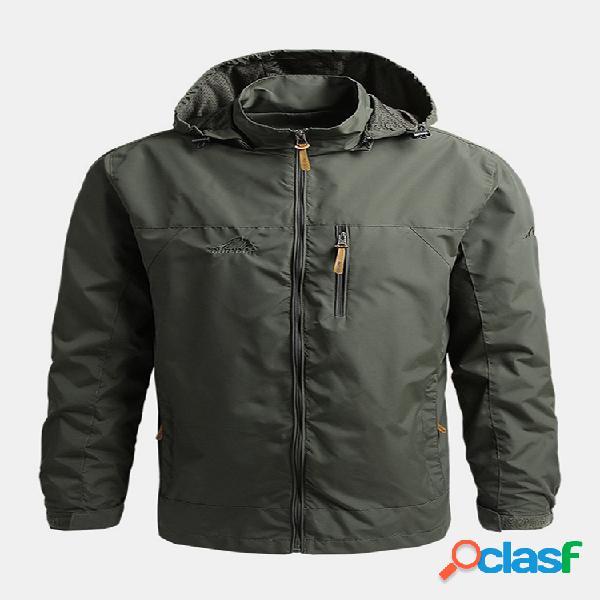 Hombre sólido a prueba de viento al aire libre sport zipper up cuello alto chaquetas con capucha