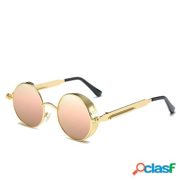Hombres mujeres lente redonda marco metálico exterior uv400 steampunk gafas de sol polarizadas ajustables