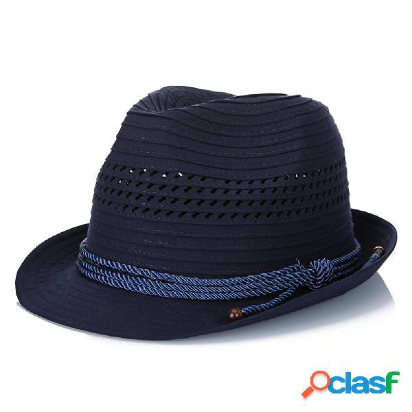 Unisex poliéster sólido rayas moda jazz sombrero ocio respirable flexible tapa de cubo anti-presión
