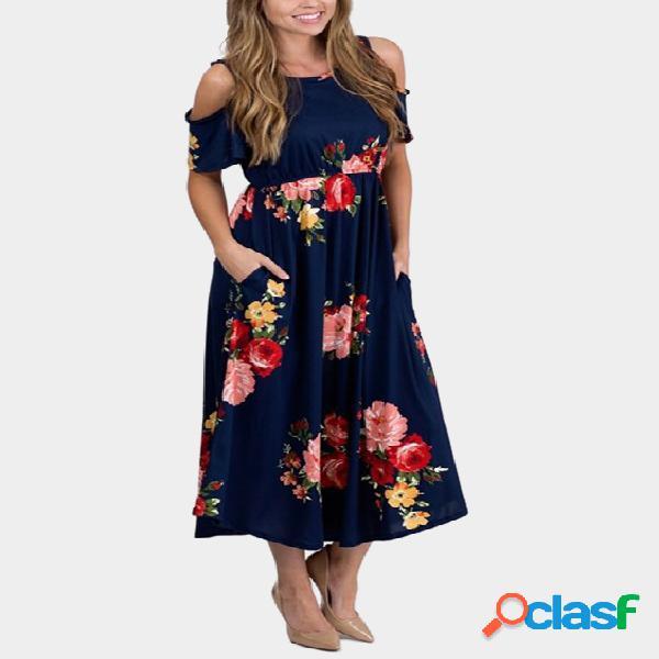 Azul marino al azar impresión floral fría hombro vestido maxi