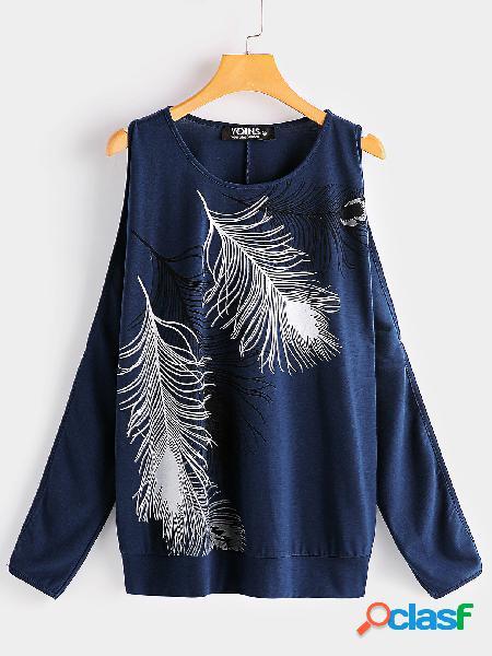 Camiseta de manga larga con cuello redondo en azul marino con cuello redondo y manga larga