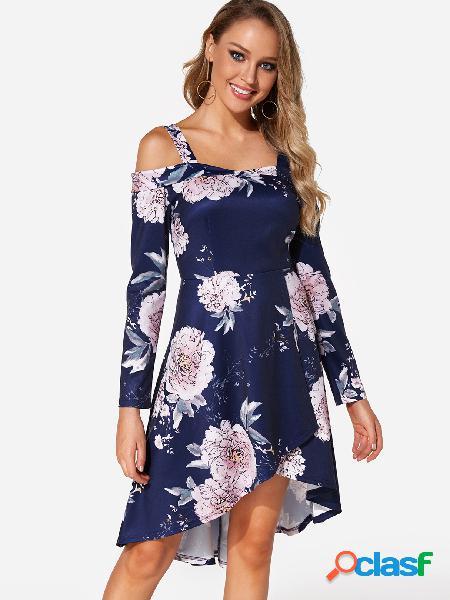 Vestido de manga larga con estampado floral al azar en azul marino de manga larga