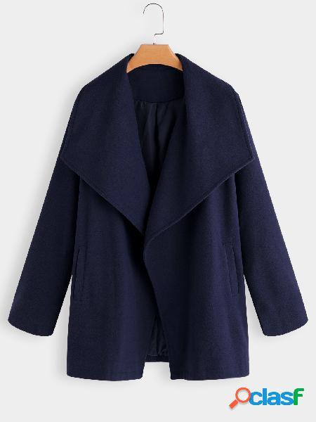 Cuello cruzado azul marino bolsillos deslizantes gabardina