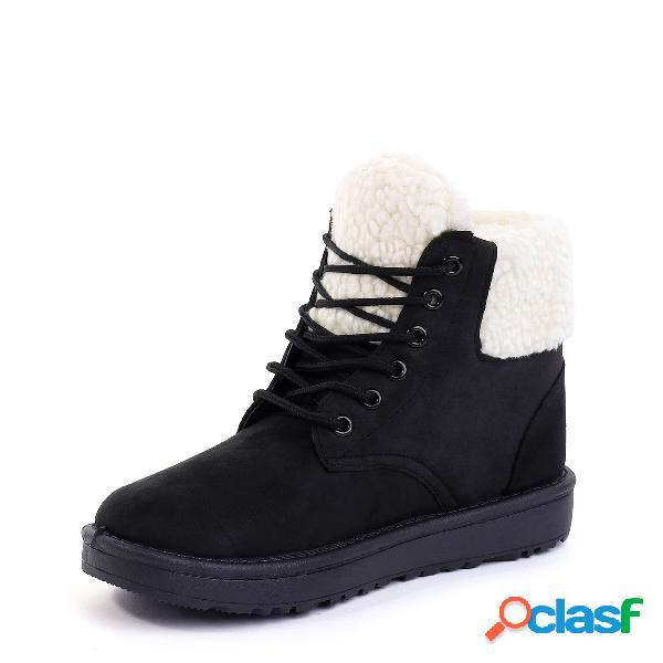 Botas de nieve forrada de piel con cordones negro