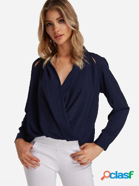Blusa de manga larga con diseño cruzado en azul marino con cuello en v