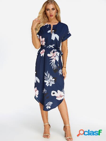 Vestido de manga corta con cuello en v y estampado floral al azar con estampado floral azul marino