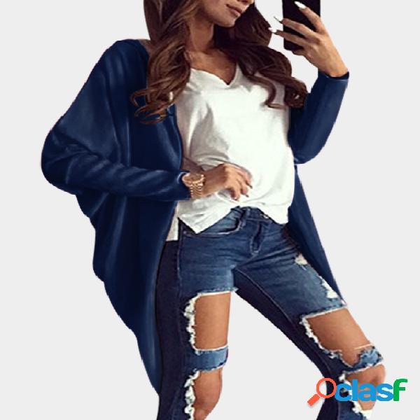 Azul marino con capucha diseño de mangas largas cardigans