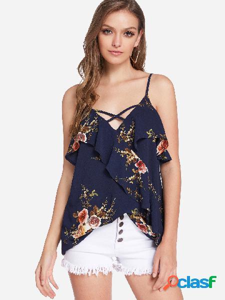 Diseño sin respaldo azul marino con estampado floral aleatorio con cuello en v sin mangas camis