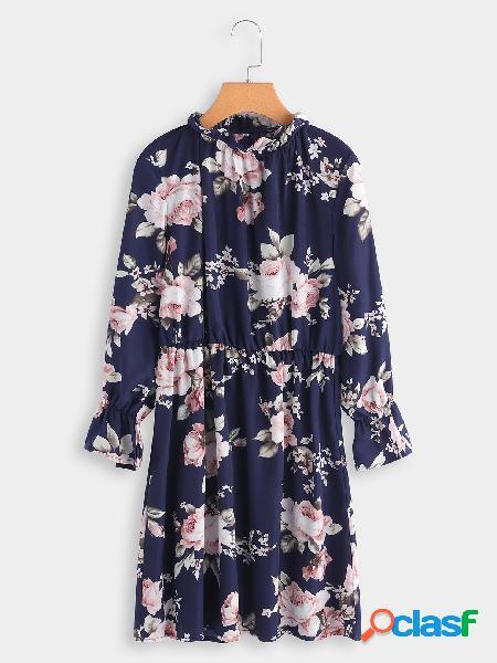 Vestido de cintura elástico con cuello redondo y estampado floral azul marino con estampado floral