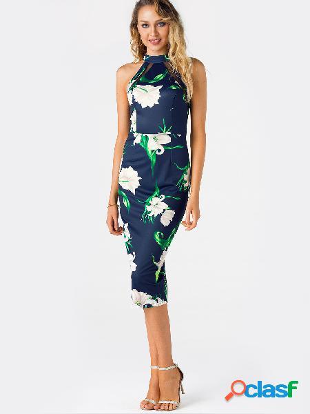 Vestido de corte recto con hendidura y estampado floral en color azul marino