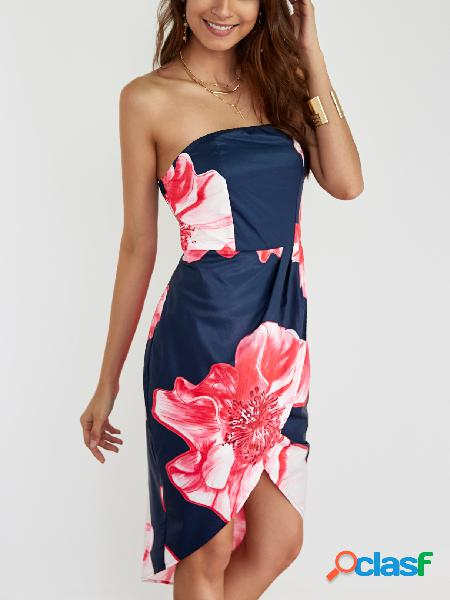 Vestido a media pierna sin tirantes con estampado floral azul marino sin tirantes