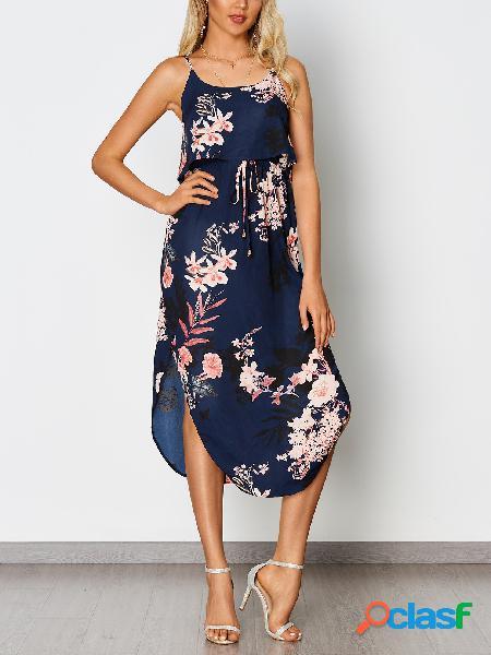Vestido de espagueti de dobladillo con cintura doblada con estampado floral azul marino