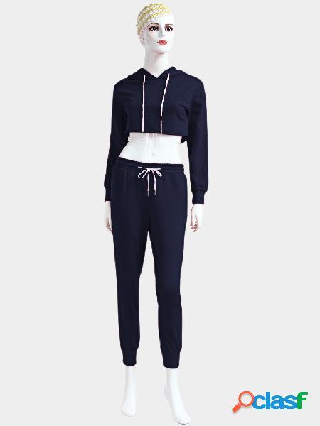Traje deportivo de manga larga con cordones con capucha y manga larga azul marino