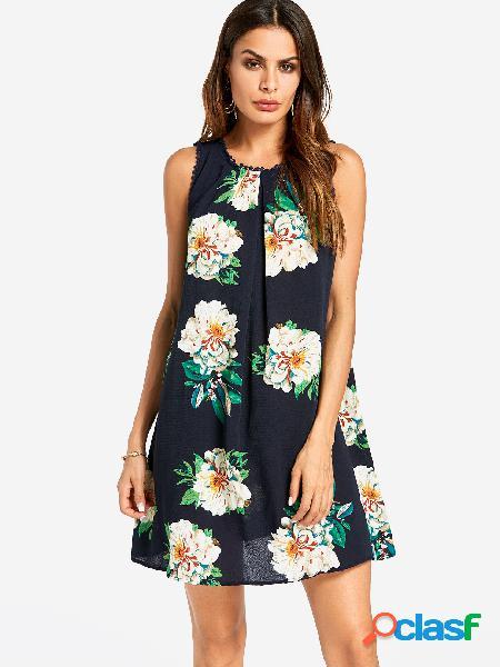 Mini vestido estampado floral al azar de plisado azul marino