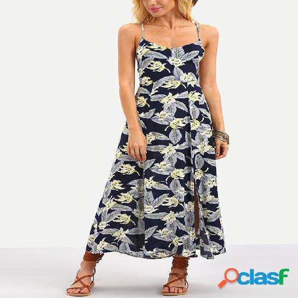 Vestido maxi con estampado floral al azar con cordones y diseño azul marino