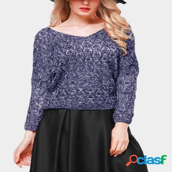 Jersey con mangas murciélago con cuello en v y diseño hueco azul marino