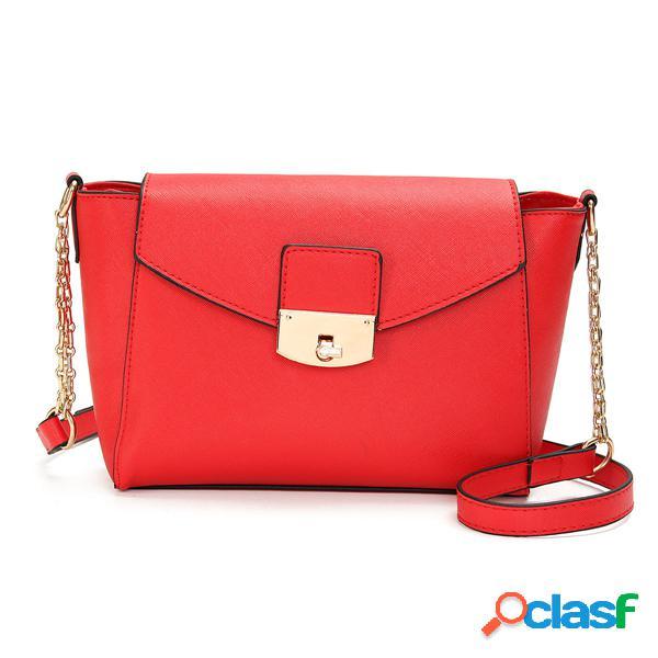 Mujer elegante bolso de hombro bolsa cuero pu mensajero spin cerradura satchel purse tote