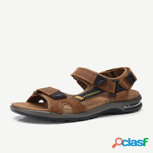Amortiguador de aire para hombre amortiguación al aire libre antideslizante gancho bucle de cuero sandalias