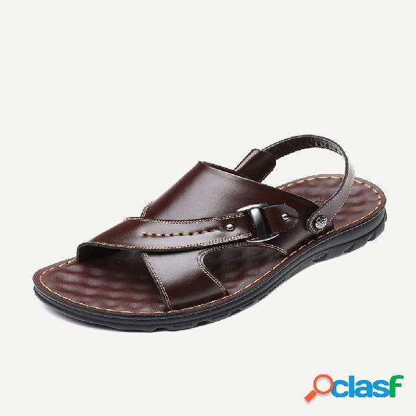 Hombre comfy punta abierta correa ajustable en el talón playa cuero sandalias