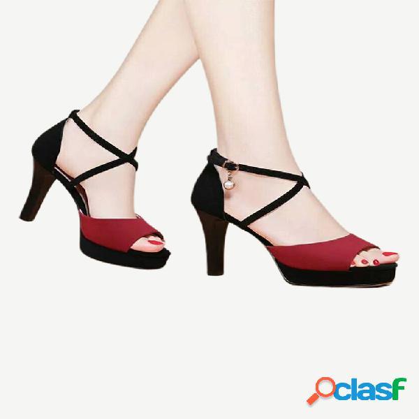 Season new women's super high heel sandalias con una hebilla de palabra con moda moda zapatos de mujer salvaje