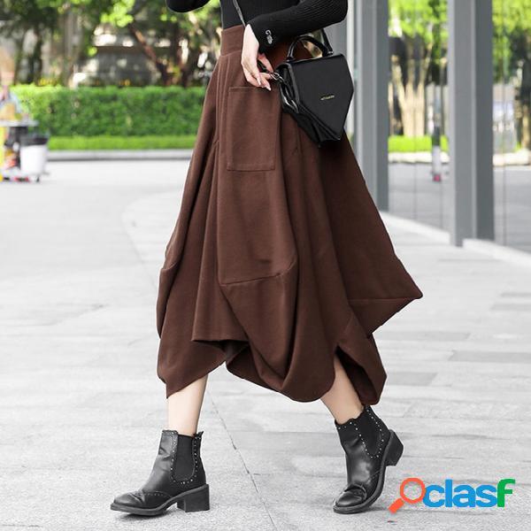 Flor de lana una falda estilo callejero moda salvaje largo irregular falda de linterna de engrosamiento de cintura alta mujer