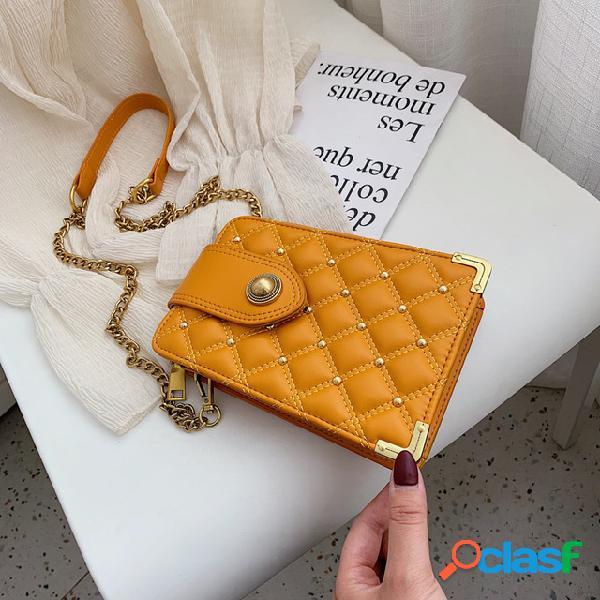 Bolso del teléfono móvil mujer nueva moda salvaje rhombic cadena solo hombro messenger bag pequeño bolso cuadrado marea