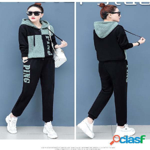 Traje deportivo de cachemira temporada de mujer nuevo suéter de moda plus terciopelo engrosamiento casual suelta marea de dos piezas